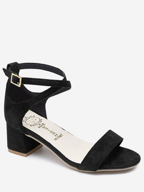 Chunky Heel One Strap Buckled Chic Sandals - BLACK 38