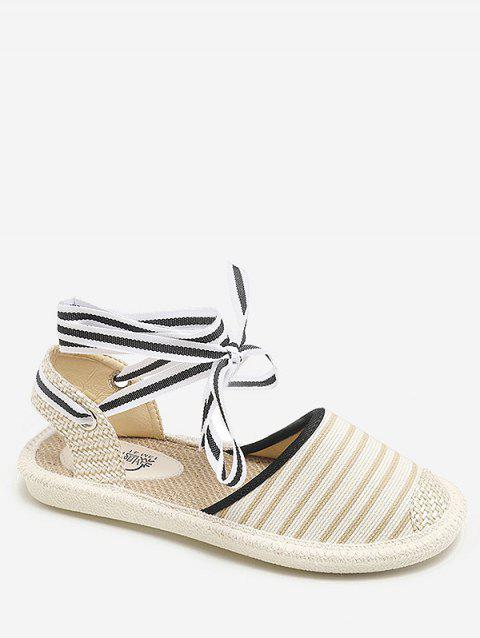 Striped Espadrille Flat Heel Casual Fisherman Shoes - WHITE 37