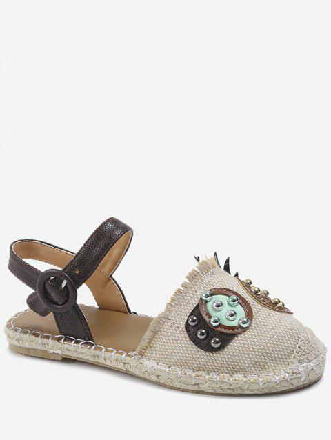 Ankle Wrap Closed Toe Patchwork Fisherman Shoes - BEIGE 38