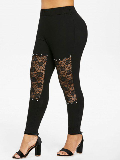 Plus Size Rivet Lace Trim Leggings - BLACK 5X