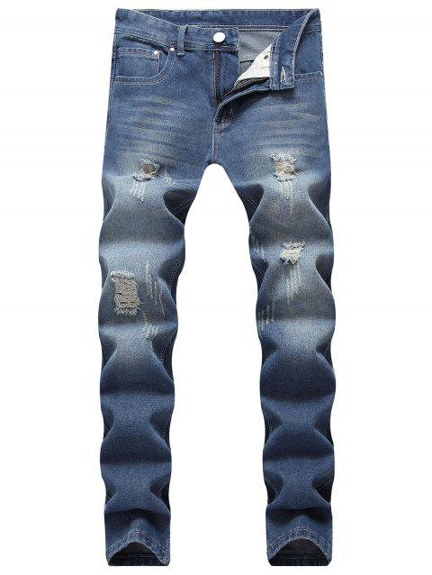 Ripped Scratch Straight Casual Jeans - DEEP BLUE 32