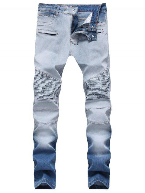 Hook Button Straight Leg Distressed Biker Jeans - JEANS BLUE 32