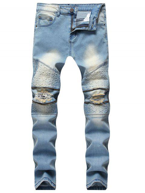 Five Pointed Stars Raised Zippers Ripped Jeans - JEANS BLUE 38