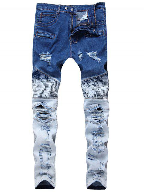 Gradient Color Pleated Zippers Ripped Skinny Bike Jeans - DEEP BLUE 36