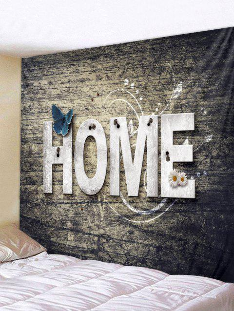 Home Wooden Butterfly Flower Tapestry Hanging Decor - TAUPE W79 INCH * L59 INCH