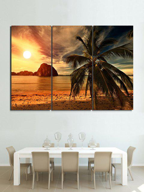 Beach Sunset Print Unframed Canvas Paintings - multicolor 3PC:16*24INCH(NO FRAME)