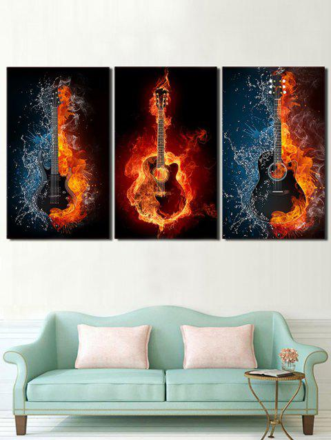 Burning Guitar Print Unframed Canvas Paintings - multicolor 3PC:16*24INCH(NO FRAME)