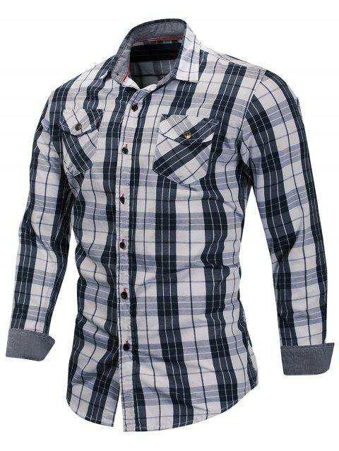 Casual Long Sleeve Plaid Shirt - GRAY DOLPHIN M