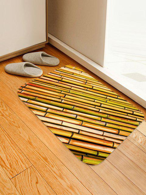 Rows of Bamboo Print Non Slip Floor Rug - WOOD W16 INCH * L24 INCH