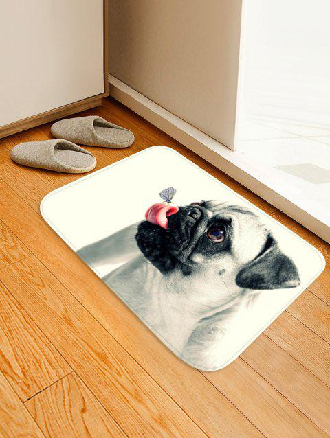 Butterfly on the Tongue of Dog Print Antiskid Floor Rug - WHITE W16 INCH * L24 INCH