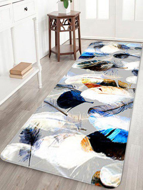 Feather Printed Coral Fleece Floor Rug - PLATINUM W16 INCH * L47 INCH