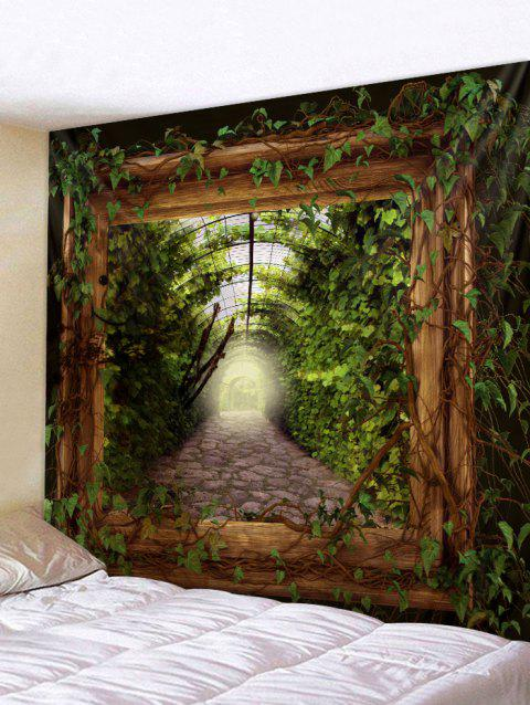 Green Leaves Wooden Frame Print Wall Decor Tapestry - GREEN W59 INCH * L51 INCH
