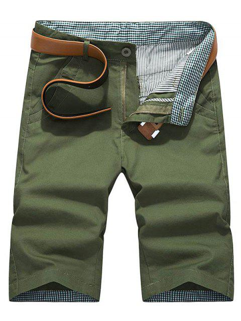 Plaid Hem Pocket Short Casual Pants - ARMY GREEN 32