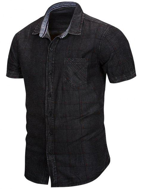 Short Sleeve Denim Plaid Shirt - DARK SLATE GREY XL