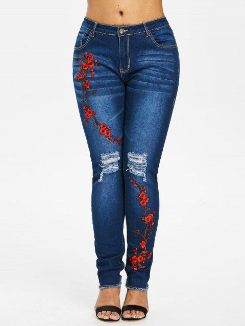 Plus Size Frayed Embroidery Jeans - DENIM DARK BLUE 1X