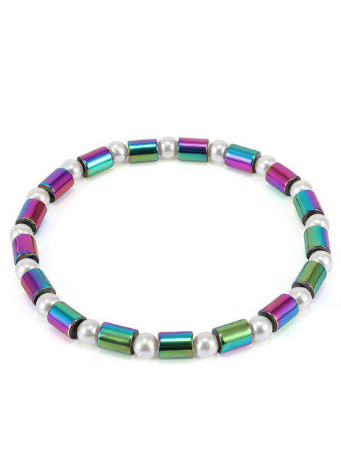 Gradient Beads Faux Pearl Strand Anklet - multicolor