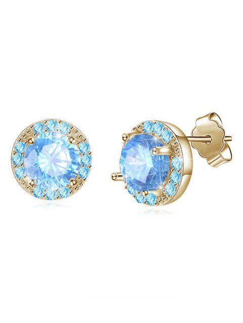 Pair of Shiny Rhinestone Inlaid Gift Earrings - LIGHT SKY BLUE