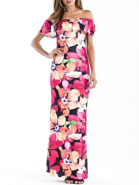 Floral Off The Shoulder Maxi Dress - multicolor L