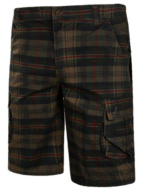 Zip Fly Check Print Cargo Shorts - DARK KHAKI M