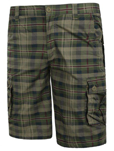 Zip Fly Check Print Cargo Shorts - LIGHT KHAKI M