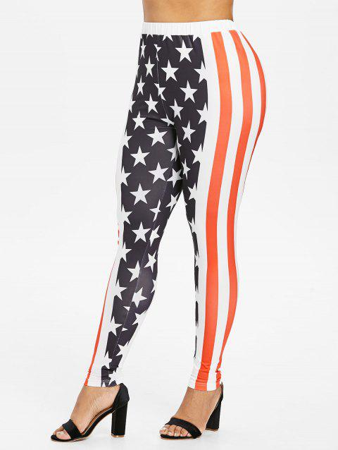 Plus Size American Flag Print Leggings - FIRE ENGINE RED 2X