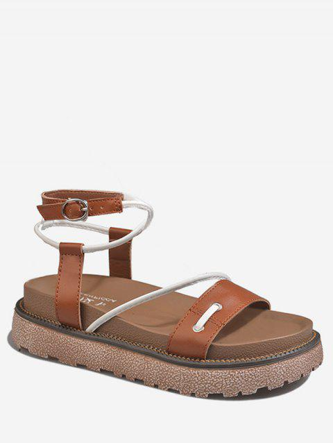 Ankle Strap Crisscross Platform Contrasting Color Sandals - BROWN 38