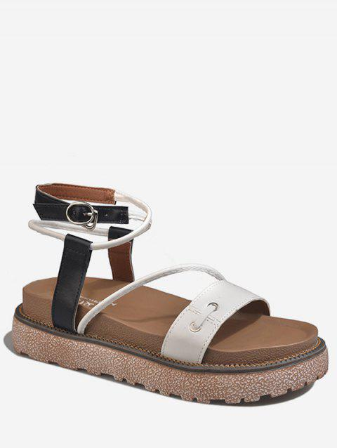 Ankle Strap Crisscross Platform Contrasting Color Sandals - WHITE 39