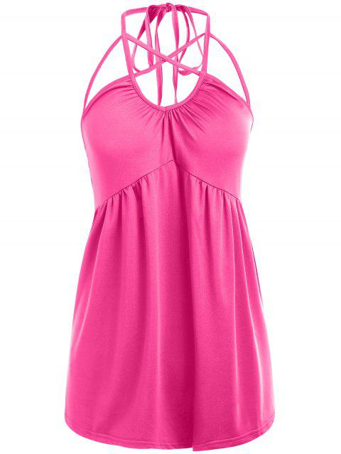 Strappy Sleeveless Halter Top - ROSE RED L