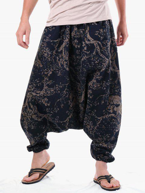 af3d6e9f90ad24 63% OFF] 2019 Retro Tree Print Harem Pants In CARBON GRAY | DressLily