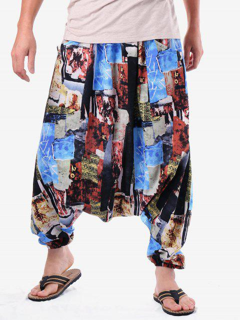 Casual Print Panel Harem Pants - multicolor ONE SIZE
