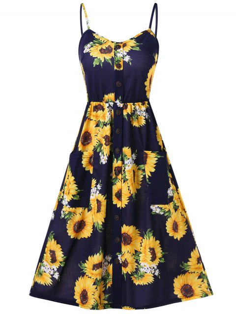 Sunflower Print Button Up A Line Cami Dress - DEEP BLUE L