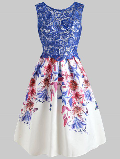 Sheer Lace Fit and Flare Flower Dress - BLUE XL