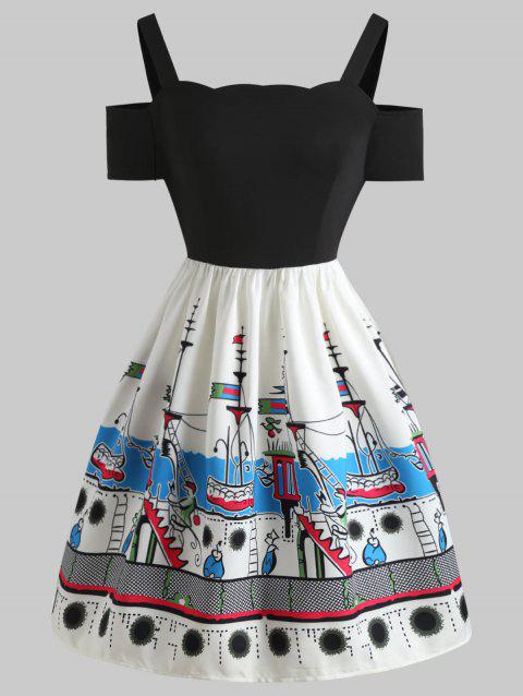 Cartoon Ships Pattern A Line Dress - BLACK 2XL