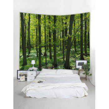 Forest Pattern Tapestry Decoration - SEAWEED GREEN W91 INCH * L71 INCH