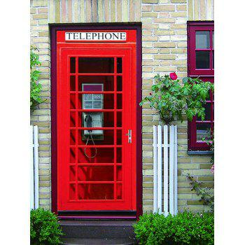 Telephone Booth Print Door Stickers - RED 38.5*200CM*2PCS