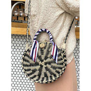 Straw Round Shaped Casual Outdoor Handbag - BLACK