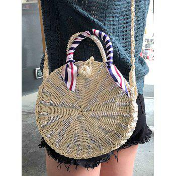 Straw Round Shaped Casual Outdoor Handbag - BEIGE