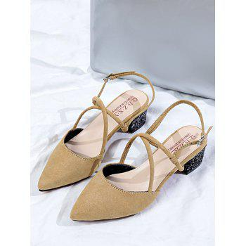Crisscross Pointed Toe Chunky Heel Slingback Sandals - LIGHT KHAKI 38
