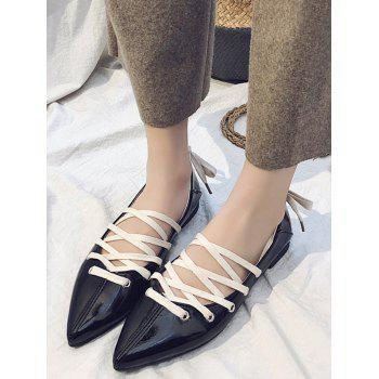 Casual Daily Crisscross Lace Up Flats - BLACK 35