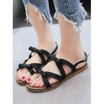 Beaded Leisure Bow Decorated Buckle Strap Sandals - BLACK 35