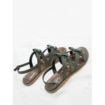 Beaded Leisure Bow Decorated Buckle Strap Sandals - PINE GREEN 38