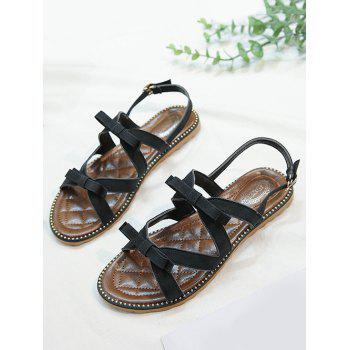 Beaded Leisure Bow Decorated Buckle Strap Sandals - BLACK 37