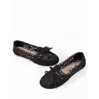 Bowknot Hollow Out Casual Working Flats - BLACK 36