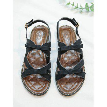 Beaded Leisure Bow Decorated Buckle Strap Sandals - BLACK 39