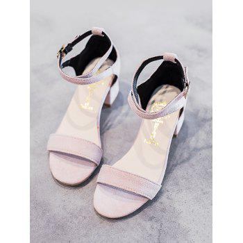 Chunky Heel One Strap Buckled Chic Sandals - LIGHT PINK 38