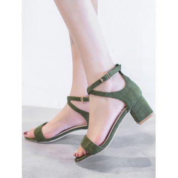 Chunky Heel One Strap Buckled Chic Sandals - ARMY GREEN 35