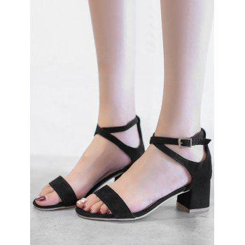 Chunky Heel One Strap Buckled Chic Sandals - BLACK 42