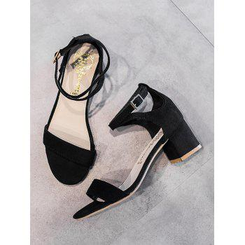 Chunky Heel One Strap Buckled Chic Sandals - BLACK 37