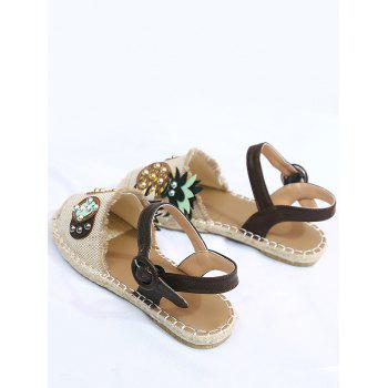 Ankle Wrap Closed Toe Patchwork Fisherman Shoes - BEIGE 35