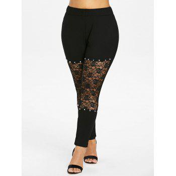 Plus Size Rivet Lace Trim Leggings - BLACK L